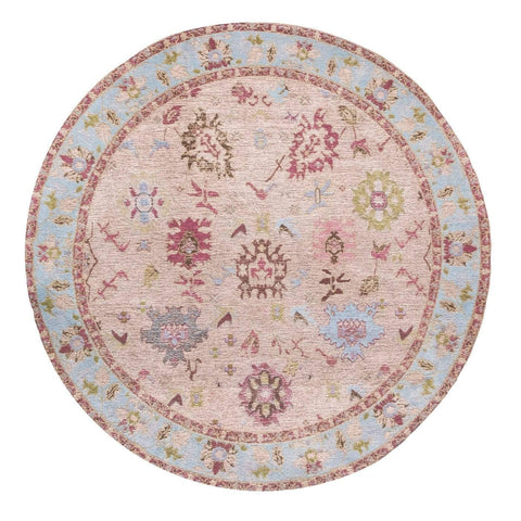 Dakota Blue and Pink Bordered Floral Round Rug
