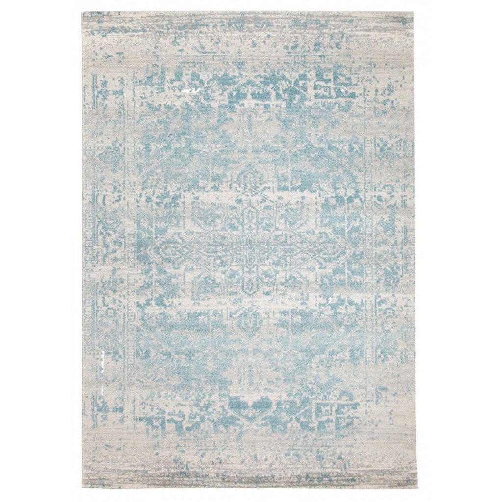 Dalvic Ivory & Light Blue Distressed Transitional Rug