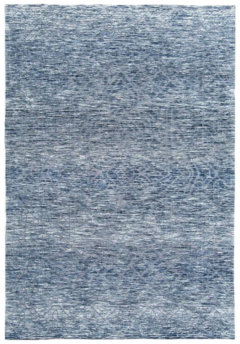 Darcy Blue Ivory and Charcoal Textured Tribal Rug