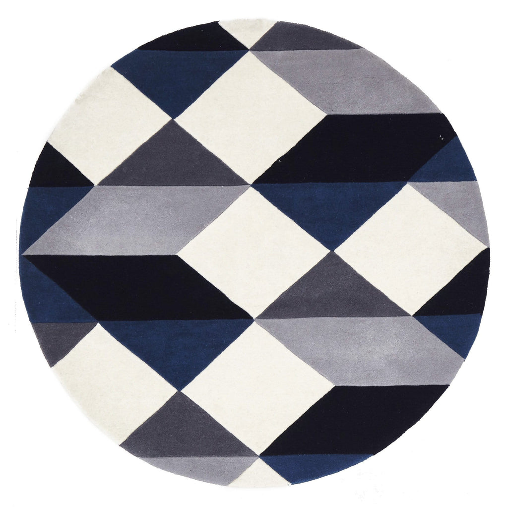Dresden Navy & Grey Geometric Round Wool Rug