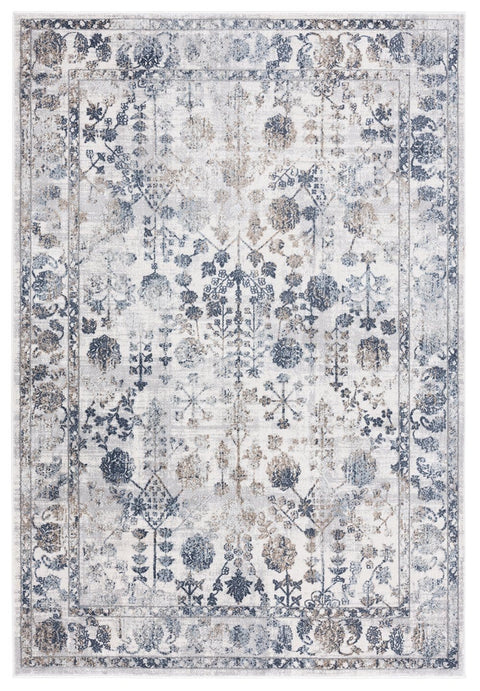 Elletra Cream and Navy Floral Motif Rug