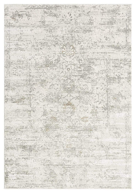 Eshe Grey and Ivory Distressed Floral Rug