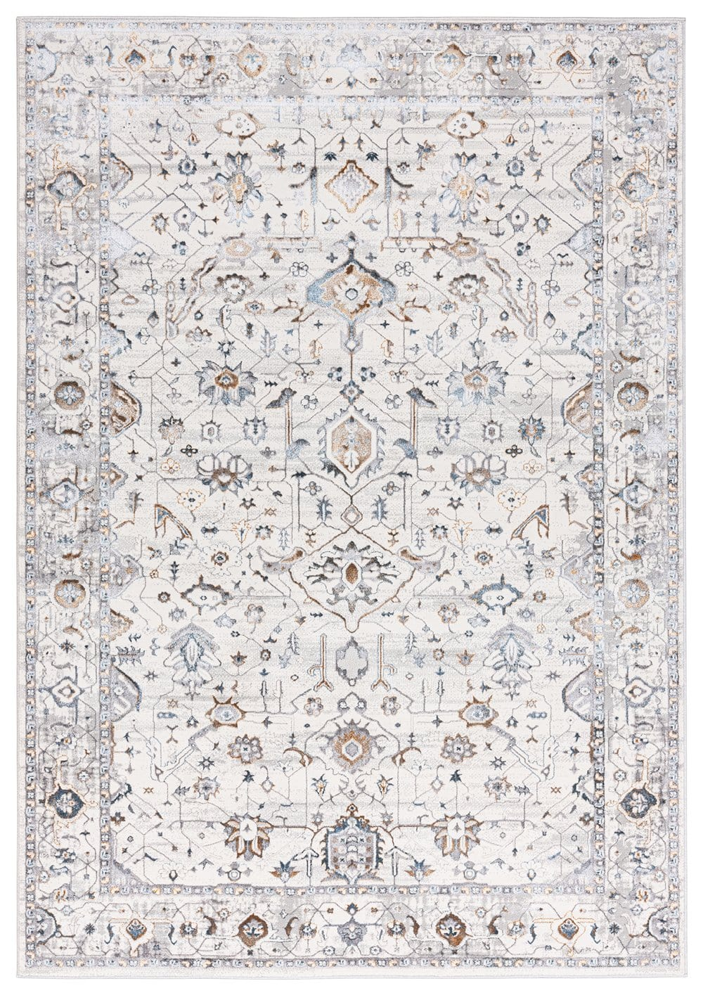 Evelyn Cream Blue and Tan Ornate Rug