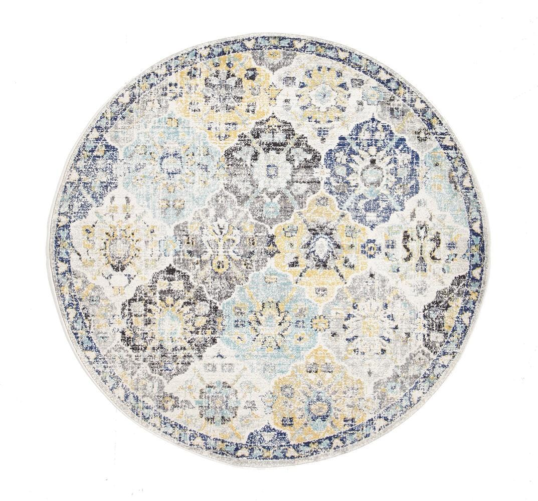Farah Blue Amp Yellow Floral Round Rug