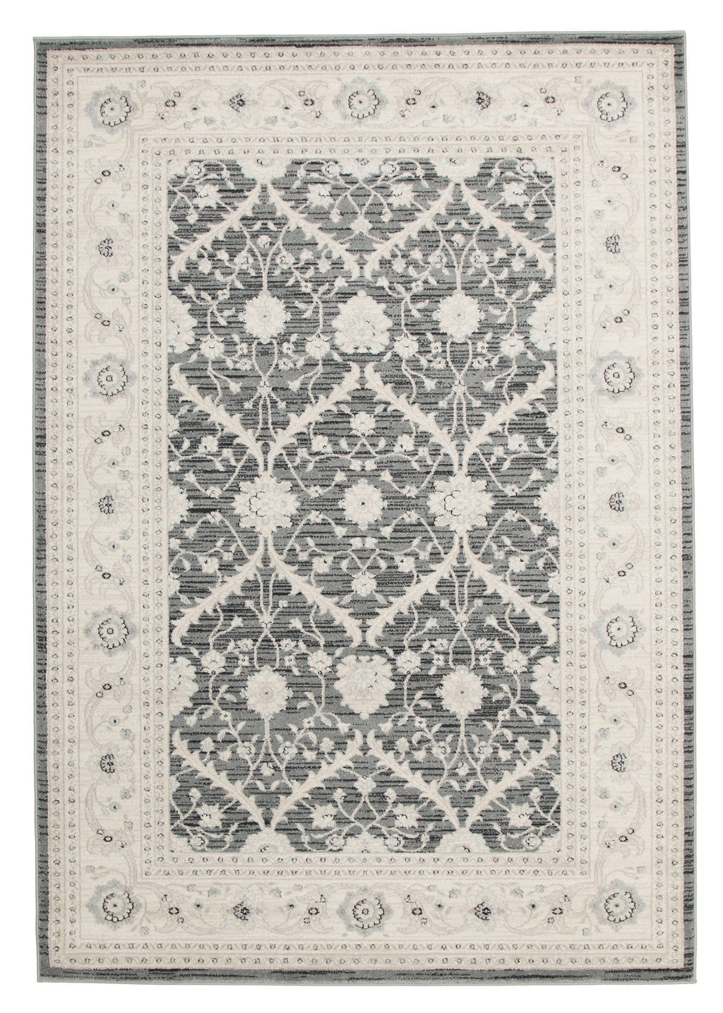 Floro Dark Grey & Ivory Transitional Rug