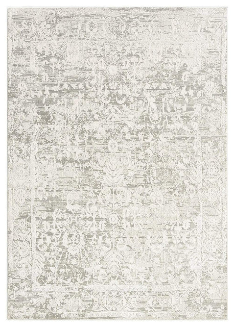 Gabriella Grey and Ivory Distressed Floral Rug