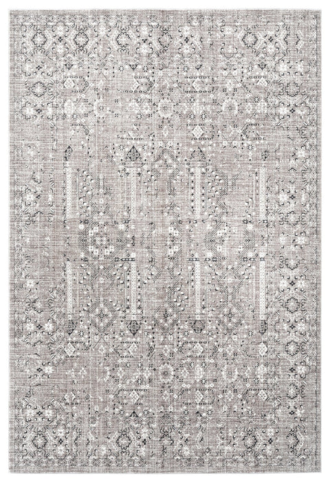 Genevieve Brown Grey and Silver Traditional Floral Rug