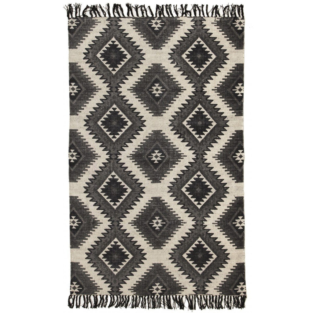 Ghanzi Printed Tribal Fringed Cotton Rug