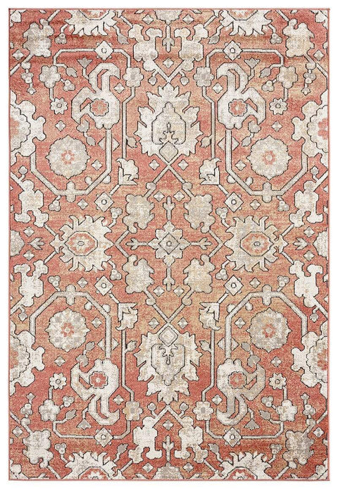 Gracie Peach Terracotta Transitional Floral Motif Rug