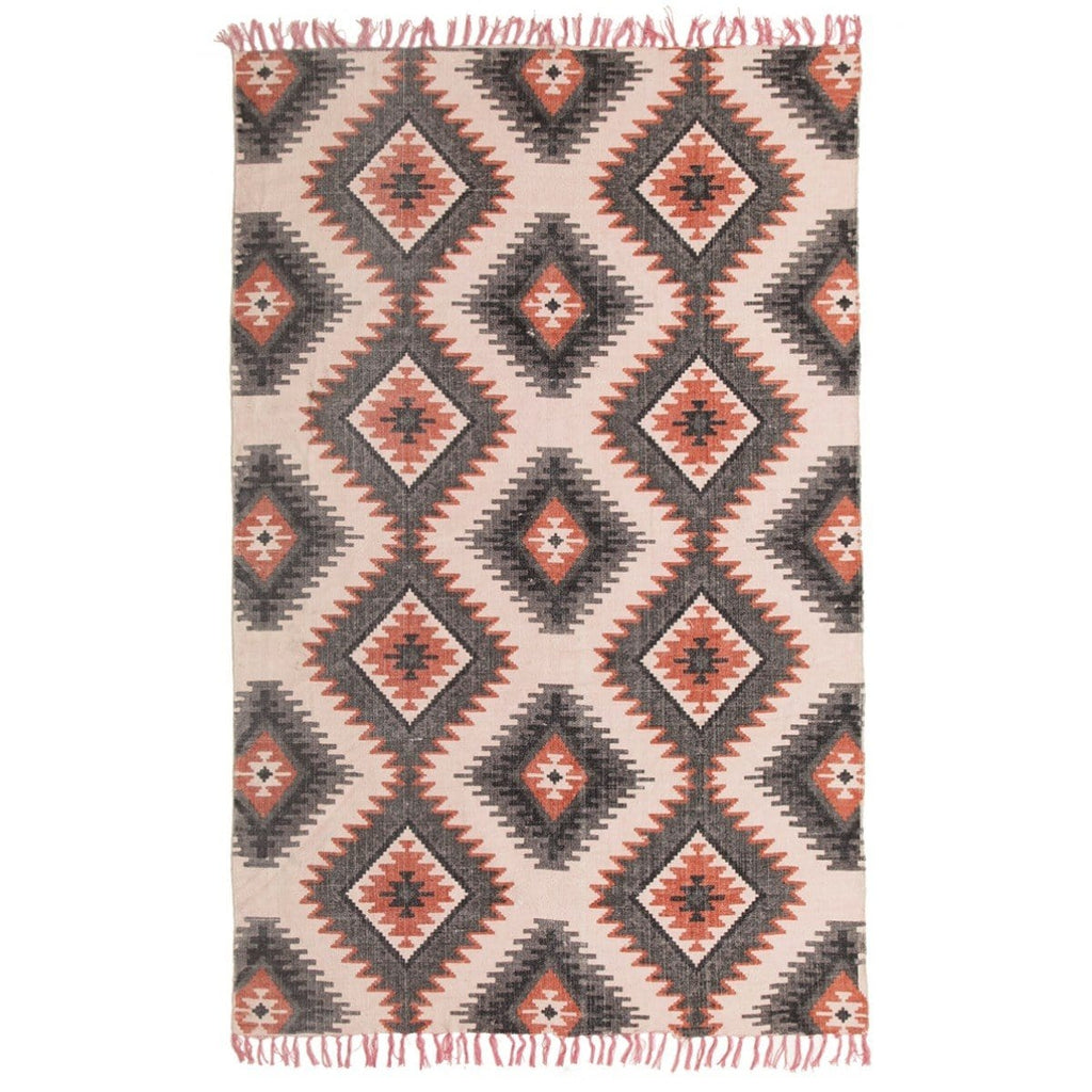Gwete Printed Orange Tribal Cotton Rug
