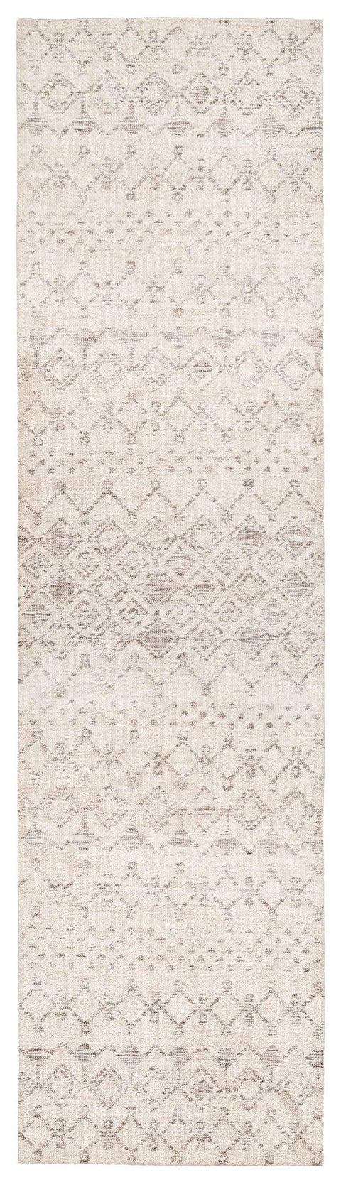 Harlow Ivory Cream and Brown Tribal Runner Rug