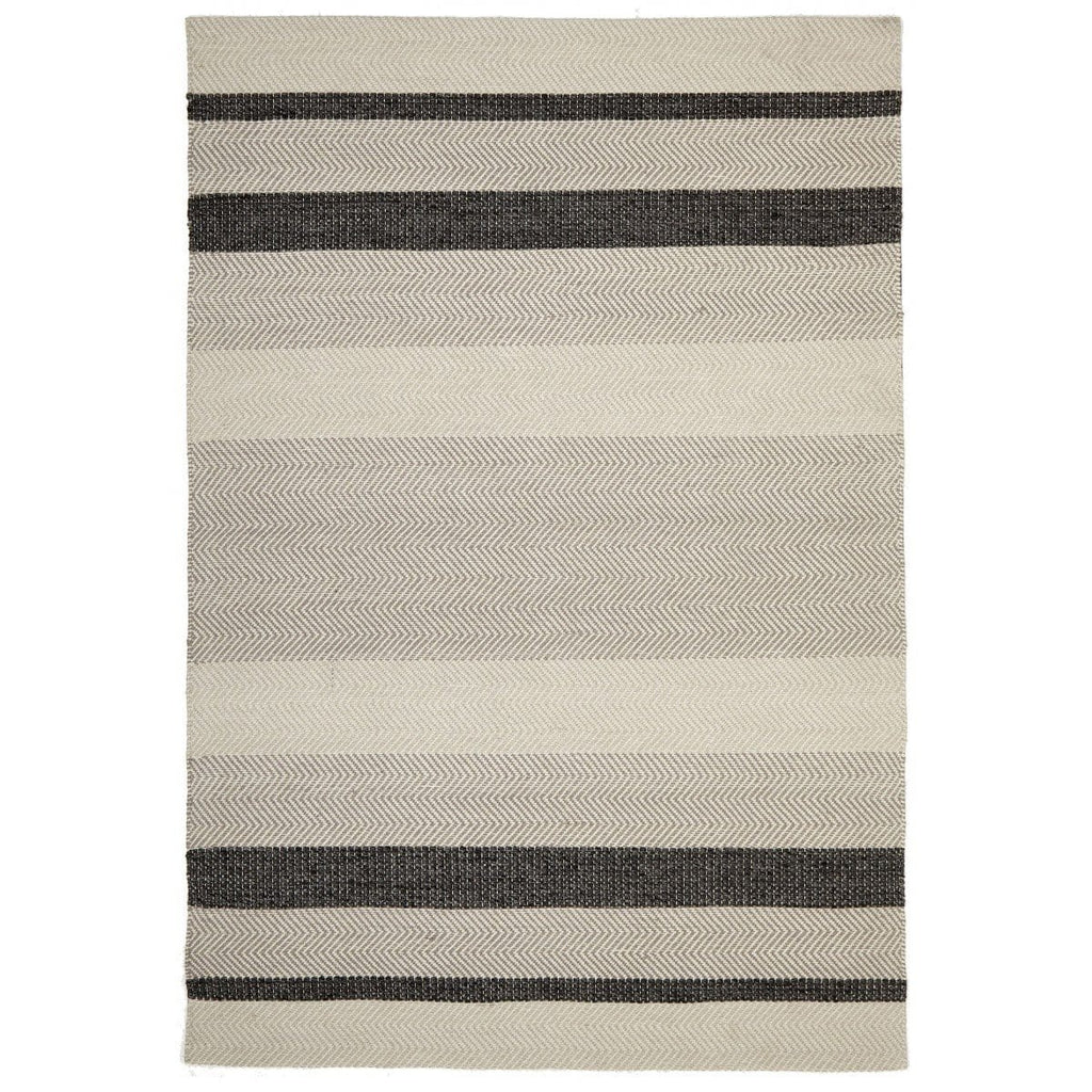 Havana Charcoal Striped Cotton & Wool Flatweave Rug