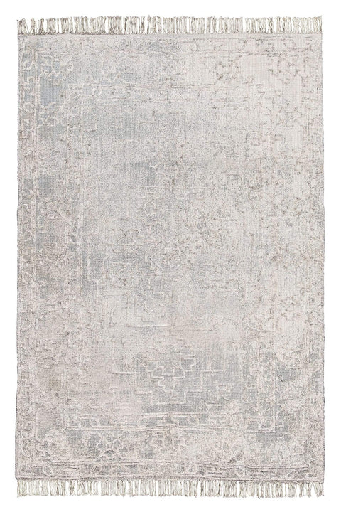 Huda Grey Ivory and Hushed Green Distressed Rug
