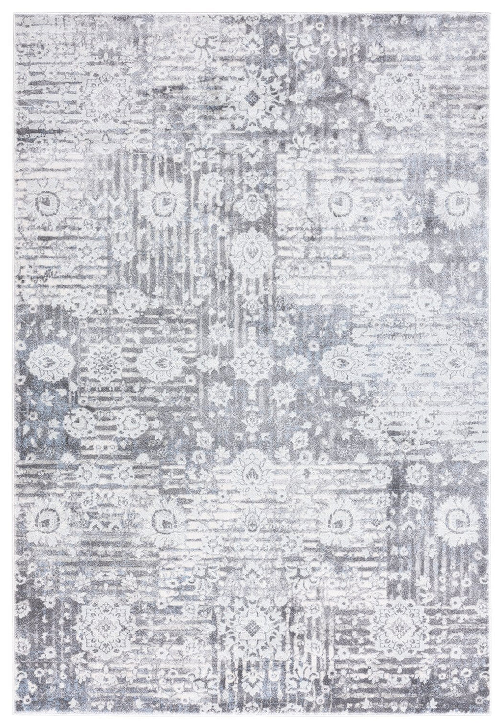 Indra Grey and Blue Faded Floral Rug