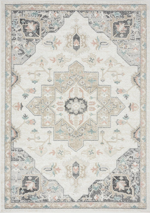 Ingrid Cream Blue and Pink Traditional Floral Rug