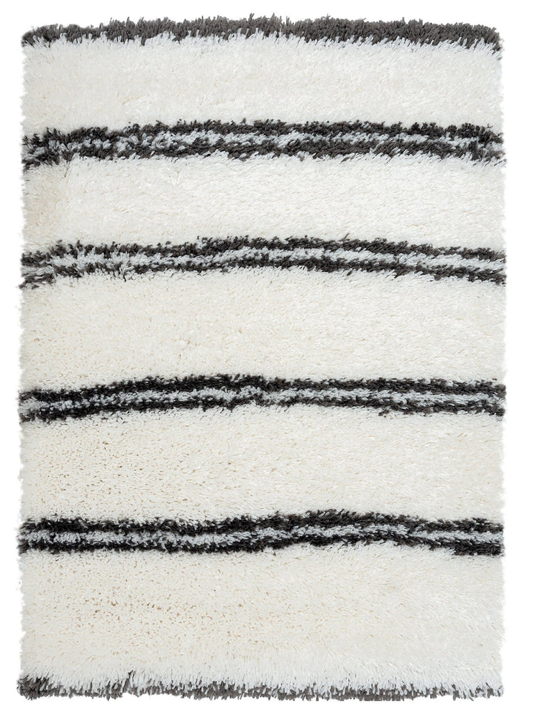 Irina Ivory and Charcoal Grey Shag Indoor Mat