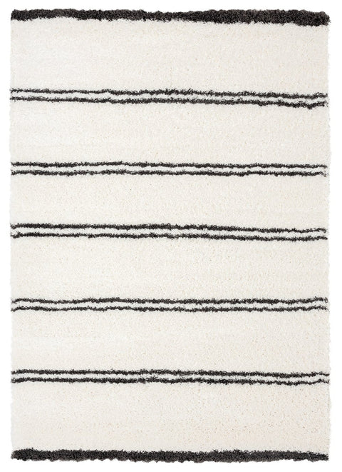 Irina Ivory and Charcoal Grey Shag Rug