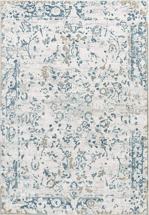 Iris Blue Grey and Beige Distressed Floral Rug