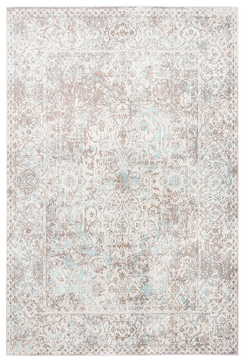 Isla Cream Grey and Blue Traditional Bordered Floral Rug