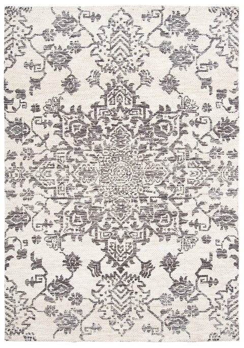 Issey Ivory and Grey Tribal Rug