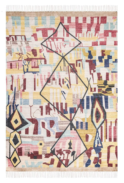 Izzie Red Yellow and Blue Abstract Tribal PET Rug