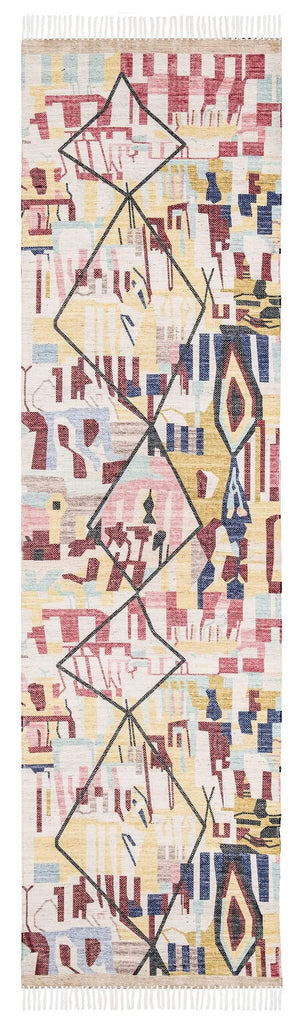 Izzie Red Yellow and Blue Abstract Tribal PET Runner Rug