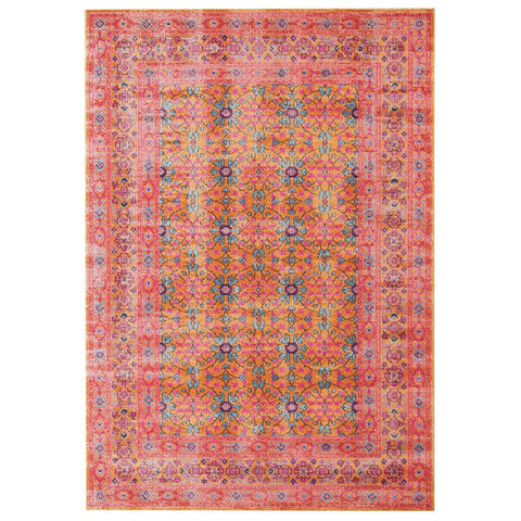 Jerash Coral & Persimmon Floral Stonewashed Rug