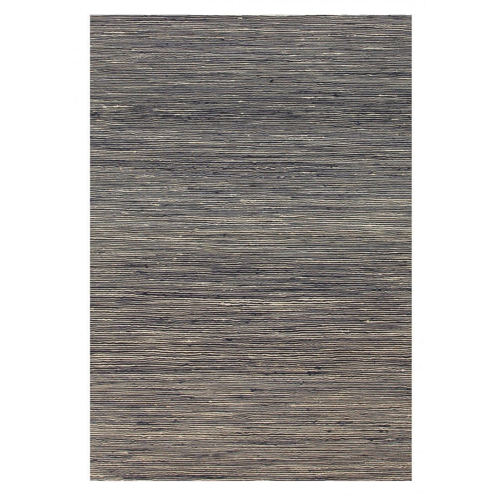 Kahuku Charcoal Grey Striped Hemp Rug