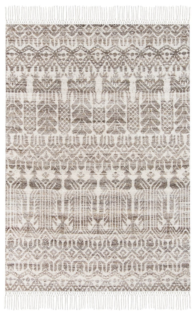 Kalena Brown and Ivory Transitional Tribal Rug