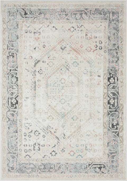 Katya Cream and Grey Multi-Colour Traditional Floral Rug