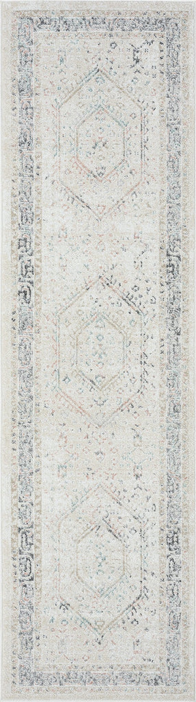 Katya Cream and Grey Multi-Colour Traditional Floral Runner Rug