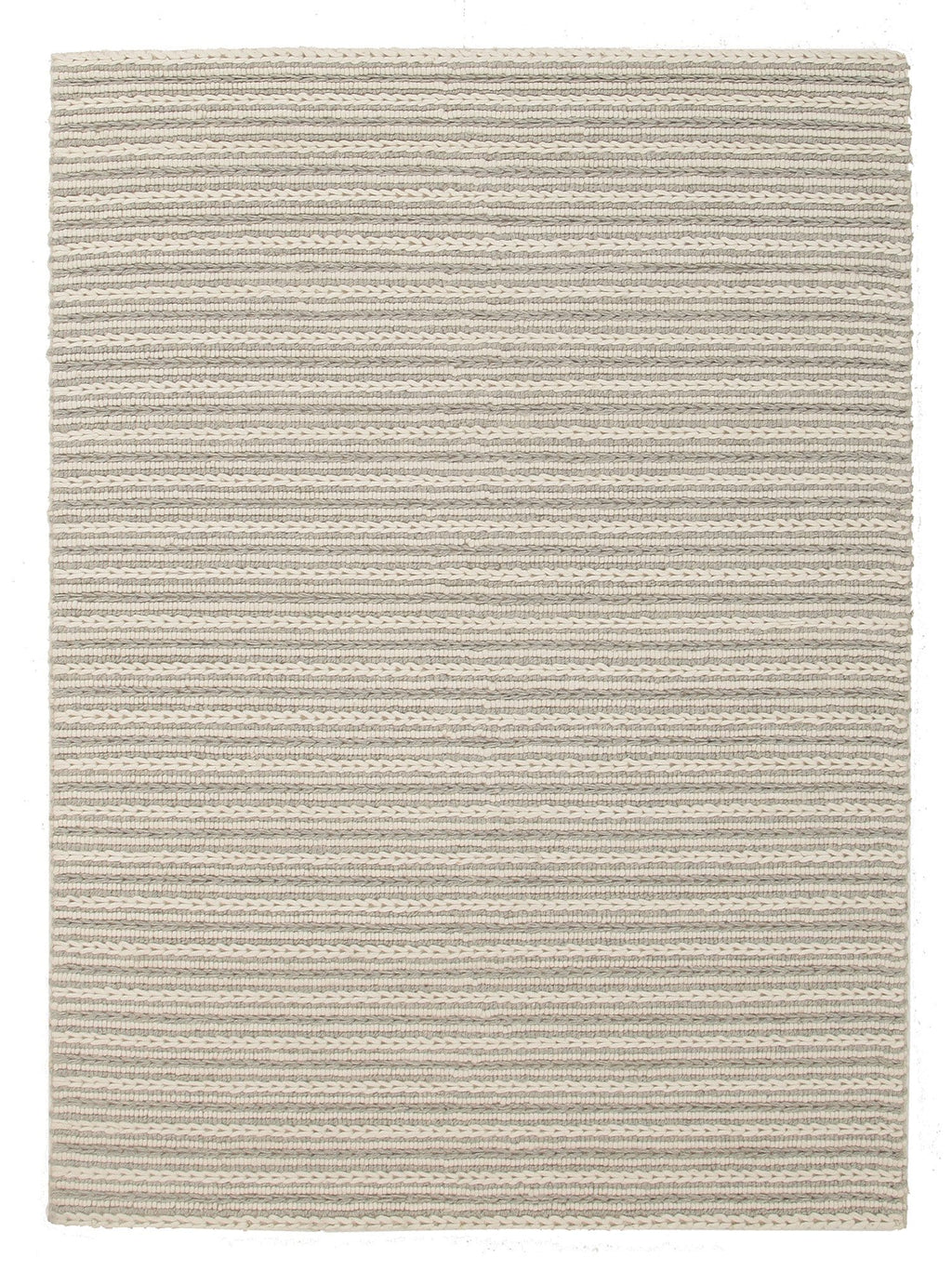Kelso Grey & Cream Chunky Braided Wool Rug