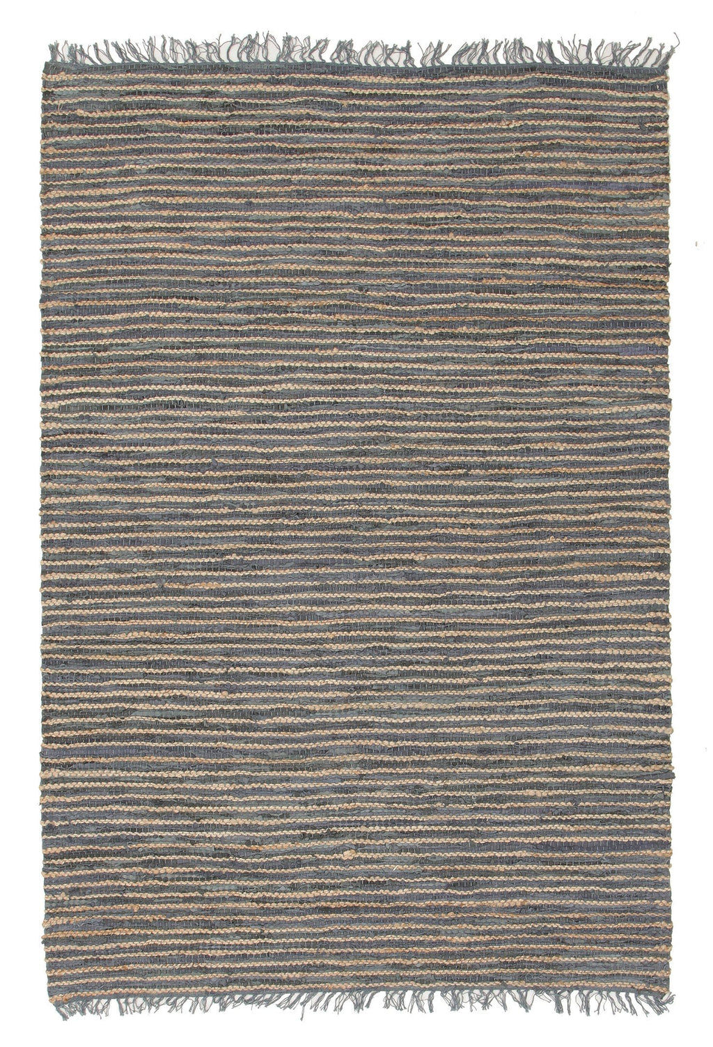 Leh Natural Jute & Grey Leather Rug