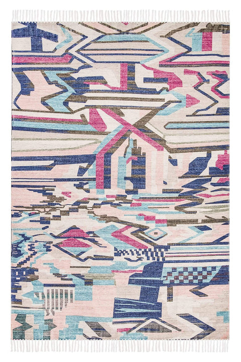 Lexi Blue and Pink Abstract Tribal PET Beach Rug