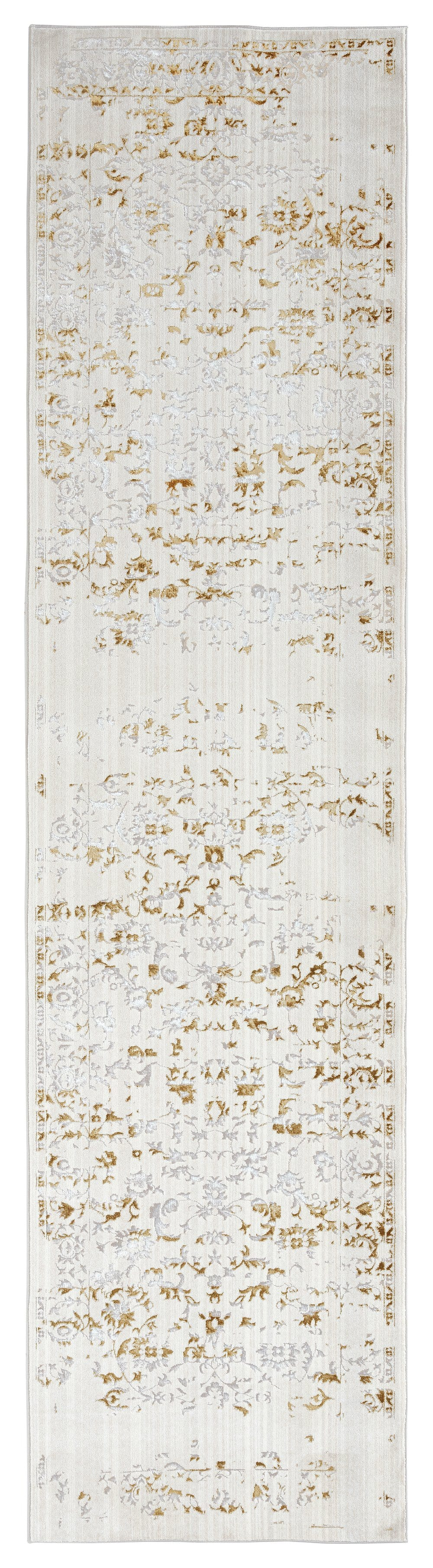 Lindy Cream Ivory and Gold Traditional Floral Runner Rug