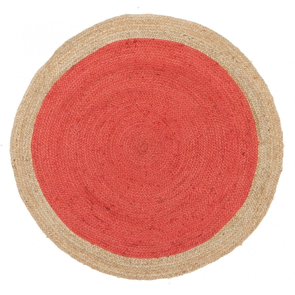 Lisbon Cherry Red Hand-Braided Round Jute Rug