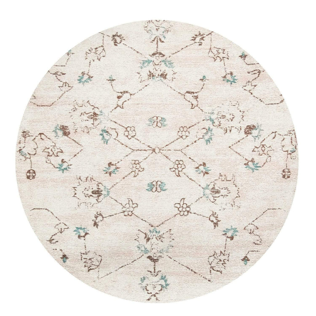 Luna Blue and Pink Floral Round Rug