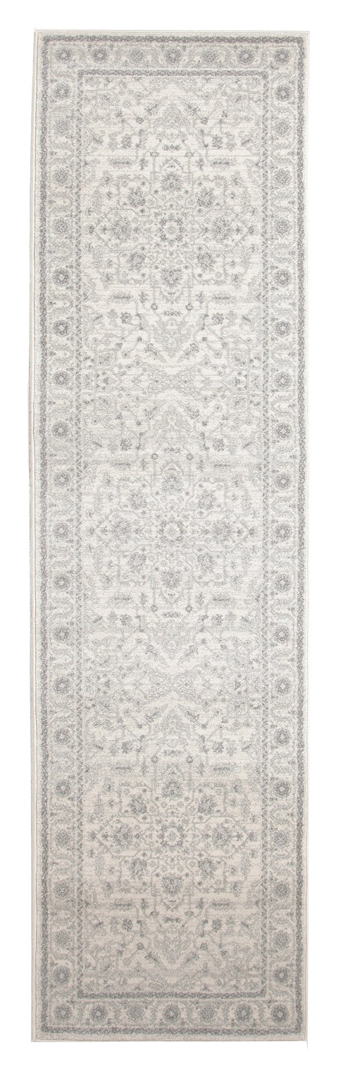 Madaya Ivory & Grey Floral Transitional Runner Rug