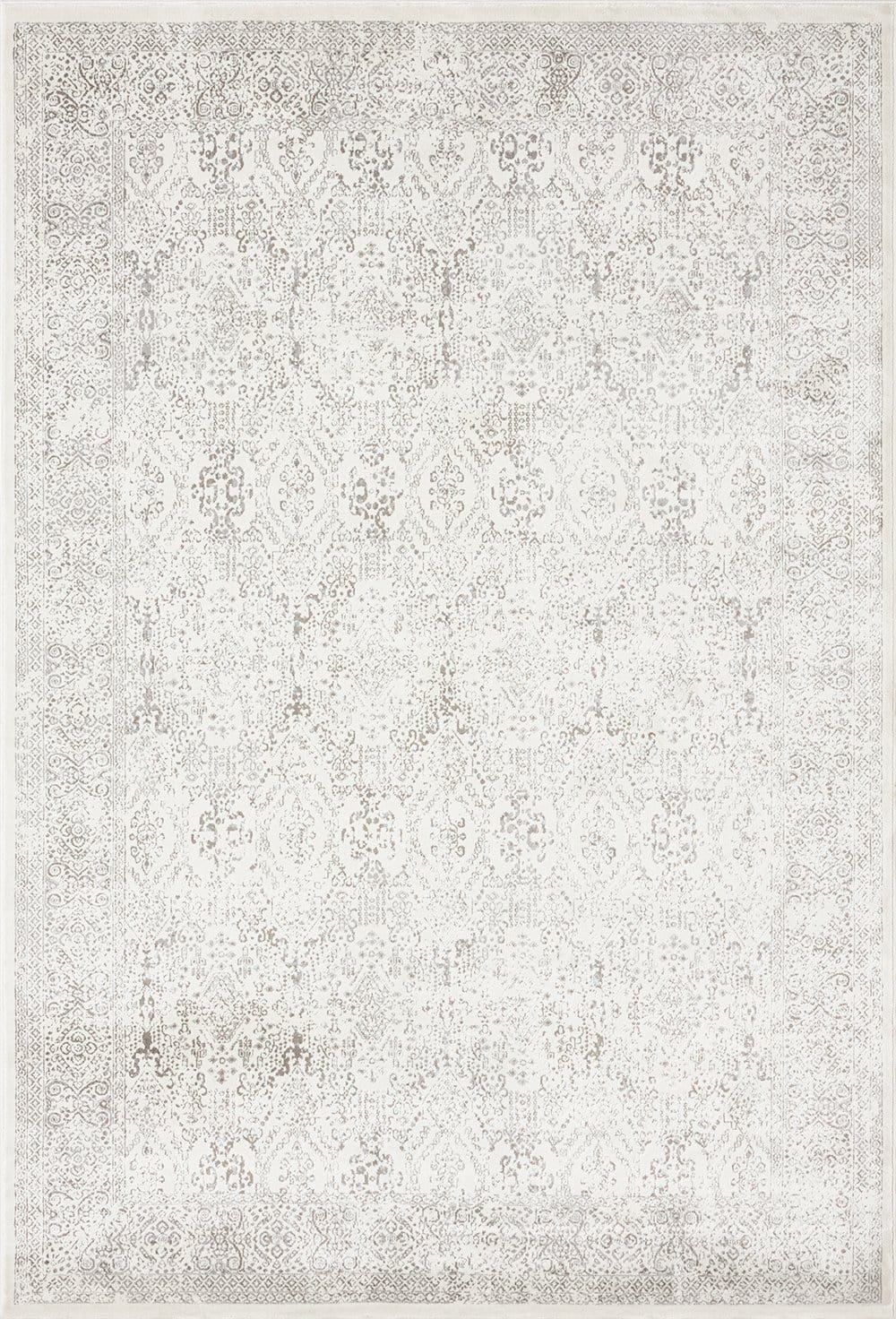 Madison Ivory and Grey Traditional Distressed Rug