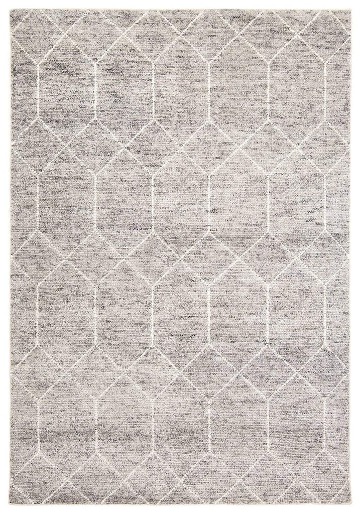 Mae Grey and Ivory Hand Knotted Cotton Bamboo Rug