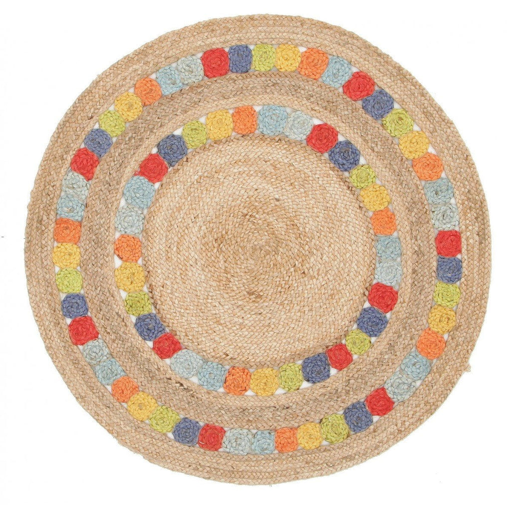 Majuli Braided Multi-Colour Jute Round Rug