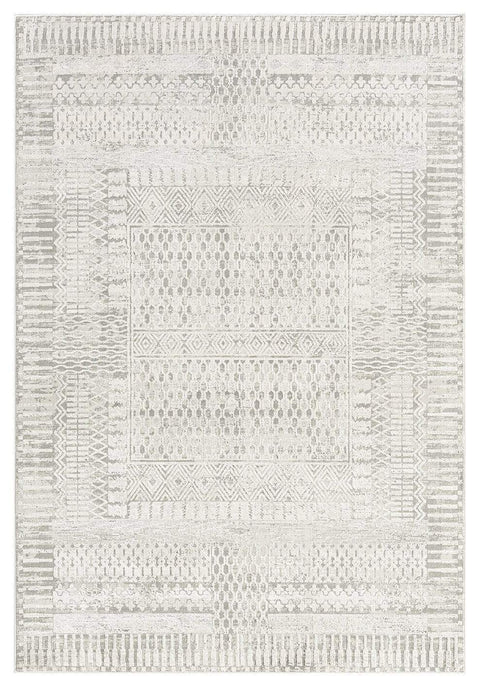 Makeda Ivory and Grey Distressed Tribal Rug