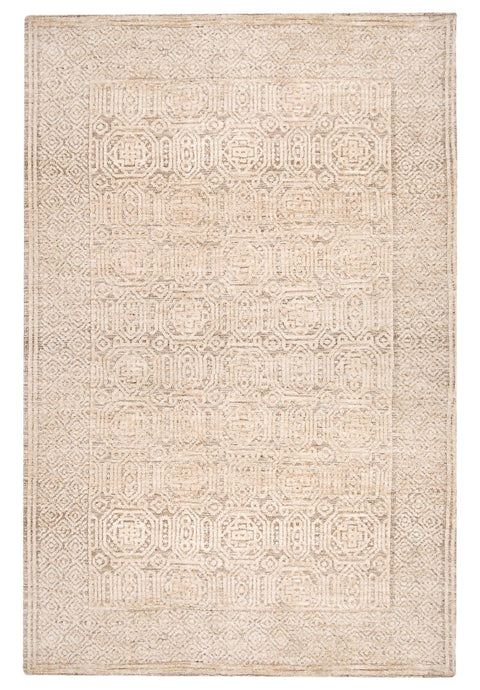 Makira Ivory Brown and Grey Tribal Textured Rug