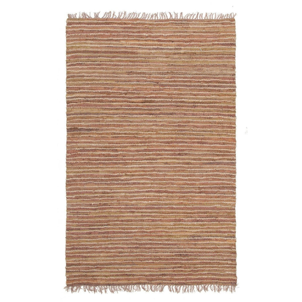 Malana Natural Jute & Brown Leather Rug
