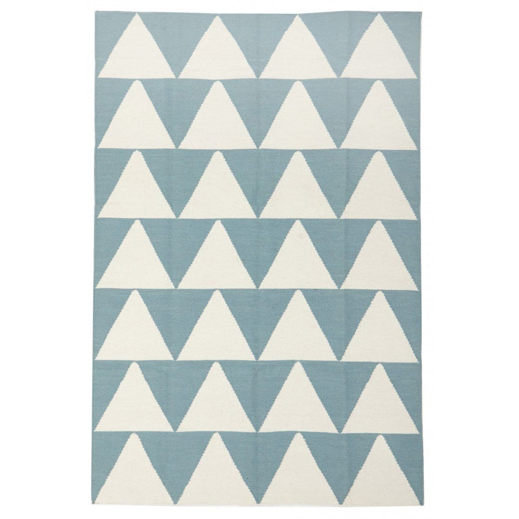 Malmö Light Blue & White Triangle Wool Flatweave Rug