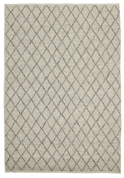 Mancora Ivory & Grey Lattice Wool & Viscose Rug