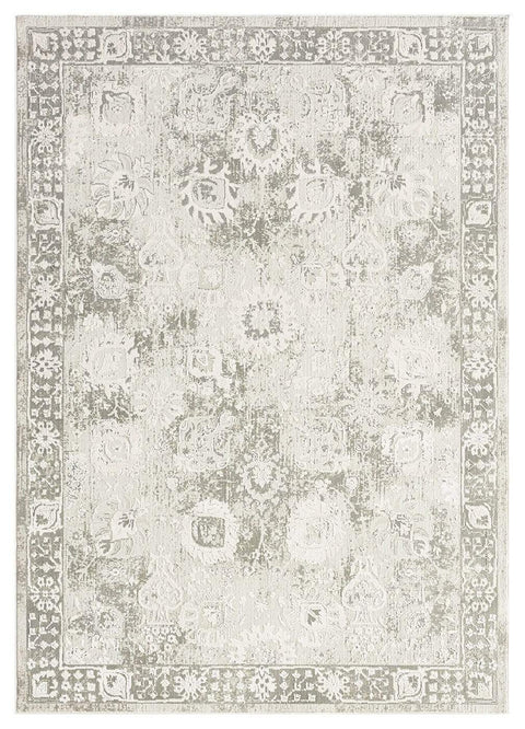 Maxime Grey and Ivory Distressed Floral Rug