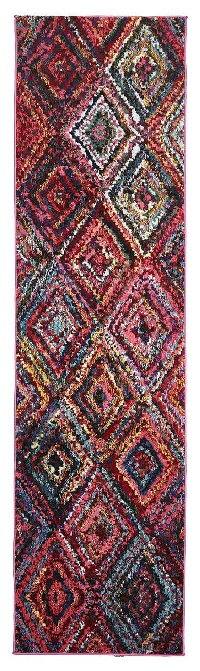 Minab Multi-Colour Diamond Runner Rug