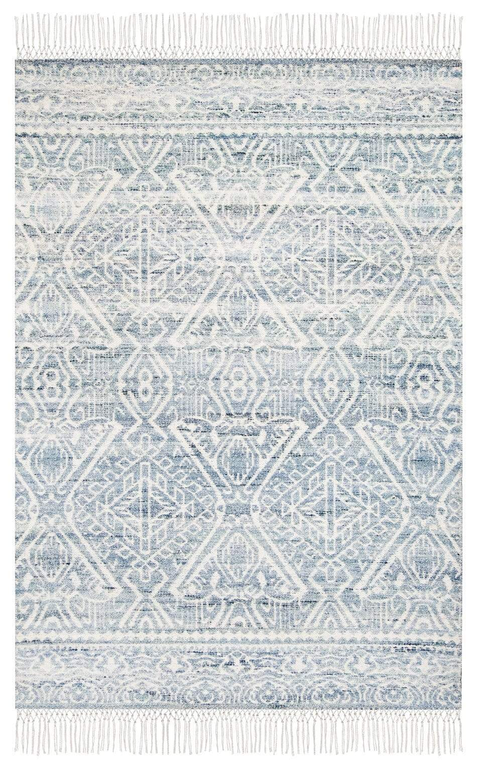 Miray Blue and Ivory Transitional Tribal Rug