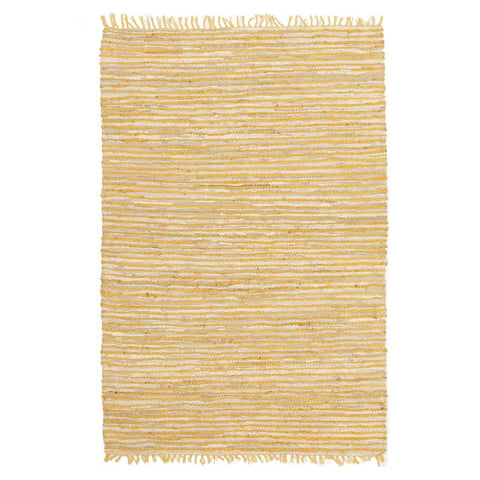 Mirik White Leather & Yellow Jute Rug